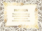 Intricate Baroque Luxury Wedding Invitation Card, Rich Gold Decor On Beige Background With Frame And poster