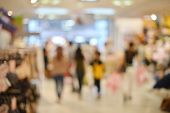 Abstract Blurry Background Of Retail Shops In Shopping Mall poster