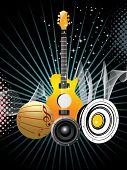 abstract dotted rays, wave and twinkle star background with collection of musical instrument