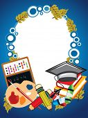 abstract education background with collection of education supplies