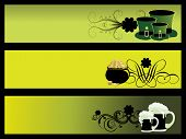 background with set of 3 patrick day banner, vector illustration