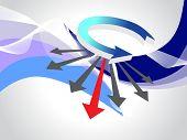 fundo abstrato onda com cabeça em seta, ilustração vetorial