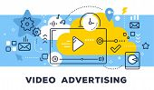 Video Advertising Concept On Blue Background With Title. Vector Illustration Of Video Player And Ico poster
