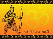 abstract yellow om background with god rama holding arrow and bow