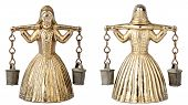 stock photo of yoke  - Front an back view of vintage brass bell shape of a woman with a yoke - JPG