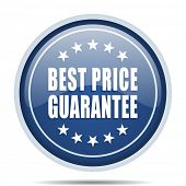 Best price guarantee blue round web icon. Circle isolated internet button for webdesign and smartpho poster