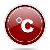 Celsius red glossy round web icon. Circle isolated internet button for webdesign and smartphone appl poster