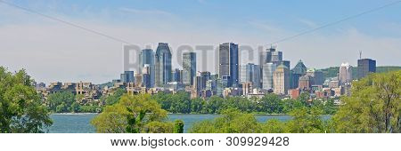 poster of Montreal City Skyline Panorama, Viewed From Ile Notre-dame, Montreal, Quebec, Canada.