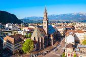 Bolzano Cathedral Or Duomo Di Bolzano Aerial Panoramic View, Located In Bolzano City In South Tyrol, poster