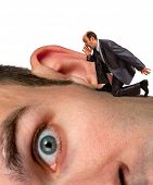 Small businessman screaming to big man ear