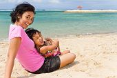 Asian Mother And Child Happy On The Beach