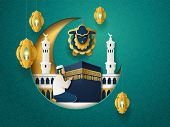 Crescent With Sheep And Prayer Man Near Kaaba Holy Stone, Masjid Al-haram Mosque And Lanterns Or Fan poster