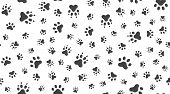 Animal Tracks Vector Seamless Pattern With Flat Icons. Black White Color Pet Paw Texture. Dog, Cat F poster