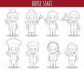 Vector Set Of Hotel Staff Professions For Coloring In Cartoon Style. poster