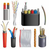 Cable Vector Cabled Wire Connection Technology Network Illustration Realistic 3d Set Of Electrical C poster