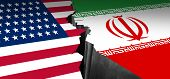 Iran Us Showdown And Middle East Clash As A Usa Or United States Crisis In The Persian Gulf Concept  poster