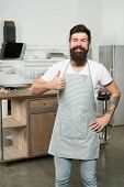 Thumbs Up Because I Like Kitchen Life. Kitchen Inspiration. Attractive Kitchen Manager. Bearded Man  poster