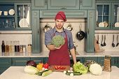 Vegetarian Diet Concept. Culinary Recipe. Chef Cooking Vegetarian Recipe. Vegetarian Cuisine Rich Vi poster