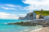 Picturesque Panoramic Landscape On The Cliffs Of Etretat. Natural Amazing Cliffs. Etretat, Normandy, poster