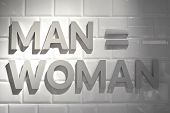 Gender Symbols Text Man And Woman On White Brick Wall. The Female Gender Symbol Is Equal To The Male poster