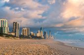 Sunrise At Gold Coast Beach In Australia. Beautiful Morning Light Over Tropical Beach Coastline poster