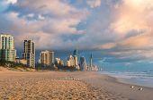 Sunrise At Gold Coast Beach In Australia. Beautiful Morning Light Over Tropical Beach Coastline poster