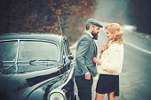 Fur Coat On Sexy Woman Seduce Bearded Man, Fur Coat Fashion And Couple In Love poster
