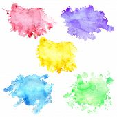 Set Of 5 Watercolor Blots With Splashes And Stains. Watercolor Spots Of Yellow, Purple, Blue, Green  poster