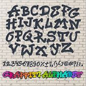 Alphabet Graffity Alphabetical Font Abc By Brush Stroke With Letters And Numbers Or Grunge Alphabeti poster