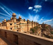 Mughal architecture - Gwalior fort entrance towers. Gwalior, Madhya Pradesh, India
