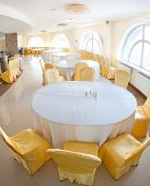 White And Yellow Restaurant Interior
