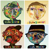 Vector Set Of Four Seasons, Presentation Of The Seasons With Different Human Face Characters, The Il poster