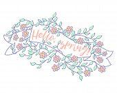 Spring Banner Sale Design. Season Sale Label With Flower. Spring Floral Background. Label Ribbon Tag poster