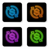 Glowing Neon Return Of Investment Icon Isolated On White Background. Money Convert Icon. Refund Sign poster