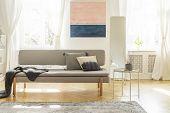 Stylish Scandinavian Living Room Interior In Old Tenement House poster