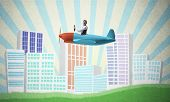 Man In Aviator Helmet Sitting In Propeller Plane And Flying Above Town. Pilot Driving Aeroplane On B poster