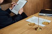Judge Gavel With Justice Lawyers, Businessman In Suit Or Lawyer Working On A Documents. Legal Law, A poster
