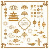 Set Of Asian Decoration Elements For The Chinese Banner Template. A Large Set Of Chinese Characters  poster
