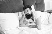 Man Bearded Hipster Woke Up Too Early And Feels Sleepy And Tired. Early To Get Up. Keep You Wide Awa poster