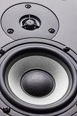Wooden Multimedia System In Black Close-up. Loudspeakers. Audio Speakers. poster