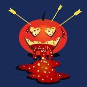 Halloween Pumpkin. Pumpkin In Love. Halloween Cartoon Sticker. Flat Festive Illustration. Valentine  poster