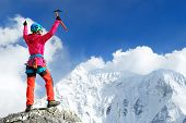 Climber Reaches The Summit Of Mountain Peak. Nepal, Everest Region. Success, Freedom And Happiness,  poster