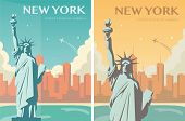 Statue Of Liberty Banner Set. World Landmark. American Symbol. New York City. Vector poster
