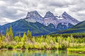 Three Sisters Mountain Peaks In The Canadian Rockies Of Canmore, Alberta, Canada poster