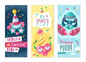 Carnival Things Vertical Banners Set. Set Of Three Vertical Banners On The Carnival Theme With Shado poster