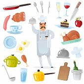 Cartoon Chef Accessories Set. Chef Surrounded By Kitchen And Restaurant Accessories For Cooking Isol poster