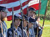 VISTA, CA - MARCH 10: Soldiers participate in a Civil War Reenactment honoring the war (1861-1865) o