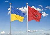 Ukraine Vs Morocco. Thick Colored Silky Flags Of Ukraine And Morocco. 3d Illustration On Sky Backgro poster