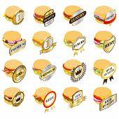 Best Hamburger Icons Set. Isometric Set Of 16 Best Hamburger Vector Icons For Web Isolated On White  poster