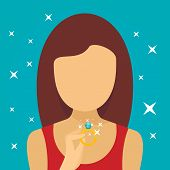 Woman Diamond Ring Concept Background. Flat Illustration Of Woman Diamond Ring Vector Concept Backgr poster